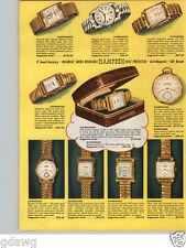 1951 PAPER AD 4 PG Hampden Wrist Watch COLOR Mid Century Modern