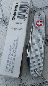 """Discontinued Wenger Standard Issue """"Soldat"""" Silver Alox Swiss Army Knife"""