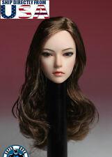 1/6 Female Head Sculpt LONG BROWN HAIR For TBLeague Phicen PALE Figure U.S.A.