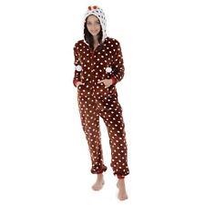 Autumn Faith Womens Christmas Pudding Fleece All in One Pyjamas With Hood Ladies