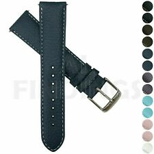 Genuine Padded Buffalo Grain Blue Leather Watch Strap Band Stainless