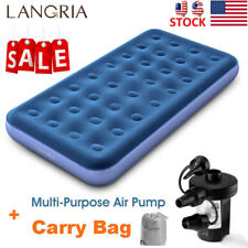 Twin Size Inflatable Mattress Air Bed Camping Travel Sleeping Bed +Electric Pump