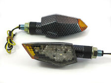 Motorbike LED Indicators with Orange Tips - Carbon Look - Pair