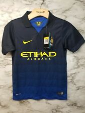 Nike Manchester City Boys Soccer Jersey Sz S Blue AWAY 75$ Tag New 2014 RARE