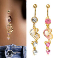 Navel Belly Button Rings Crystal Heart Dangle Bar Barbell Body Piercing Jewelry