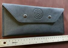 VW T5, T6 - BLACK Nappa genuine LEATHER - DOCUMENT case with logo.