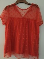 GORGEOUS V BY VERY ORANGE TOP WITH IN A SIZE 14