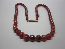 FINE VICTORIAN GOLD ON STERLING SILVER & GRADUATED CARNELIAN BEADS NECKLACE