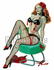 Zombie Pinup Girl Waterslide Decal Sticker for Guitars & more S834