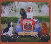 CAVALIER KING CHARLES SPANIEL DOGS MOUSE MAT CAR SANDRA COEN OIL PAINTING PRINT
