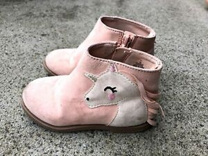 Old Navy Pink Unicorn Boots Booties Toddler Girls size 7