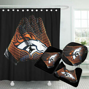 Denver Broncos Bathroom Rugs Set 4PCS Shower Curtain Non-Slip Toilet Lid Cover