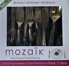 Mozaik 160 Piece Gold Hammered Style Plastic Cutlery Fork Knife Spoon Partyware