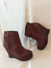 Next Maroon Ankle Leather Boots Size 6