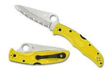Spyderco Pacific Salt 2 Yellow FRN Handle H-1 Steel Serrated Knife - C91SYL2