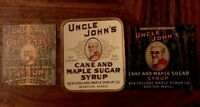 UNCLE JOHN'S NEW ENGLAND MAPLE SYRUP LABELS LOT OF (3) DIFF NEW BOSTON MASS