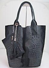 Leder Tasche Handtasche Schultertasche Beutel Kroko Schwarz Made in Italy