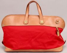 Dooney & Bourke RED Canvas TAN Leather EAST WEST Domed Duffle Bag C304