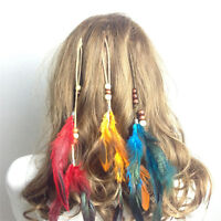 New Headdress Indian Feather Hair Ornaments Clip Feathers Tassel Hair Piece B36A