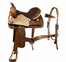 "18"" Western Double T pleasure trail SQH saddle headstall rein tack set leather"
