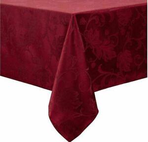 "Autumn Vine Damask Tablecloth, Wine Burgundy, 60"" x 84"", NEW"