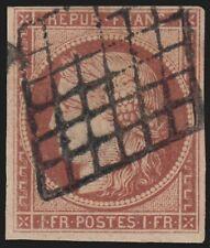 n°6B, Cérès 1849, 1fr CARMIN-BRUN, oblitéré grille - TB - signé A.BRUN