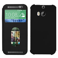 Housse Etui Coque Plastique View Case NOIR HTC One (M8)/ (M8) Eye / Dual Sim