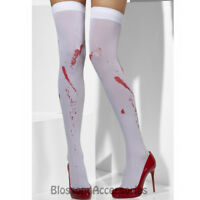 A899 White Bloody Zombie Blood Stained Stockings Halloween Costume Accessory