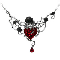 ALCHEMY BED OF BLOOD ROSES Gothic Statement Necklace - Black Roses Red Heart