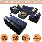 8-piece Patio Wicker Sofa Set Furniture Outdoor Rattan Garden Conversation Set