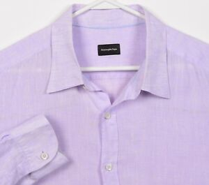 Ermenegildo Zegna Men's 2XL 100% Linen Solid Purple Boho Button-Front Shirt