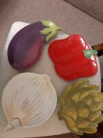 Set Of 4 Harry & David 2007 Vegetable Plates Onion Artichoke Red Pepper Eggplant