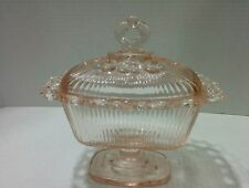 Vintage Indiana Glass Pink Pedestal Open Lace Oblong Butter / Candy Dish w/ Lid