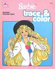 VINTAGE 1990 BARBIE TRACE & COLOR BOOK BY GOLDEN