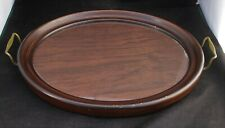 Vintage Brass Handled Wood & Glass Serving Tray