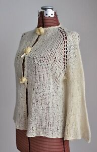 Vintage 1930's Knit Cardigan Sweater Bell Sleeves w  Deco Celluloid Buttons