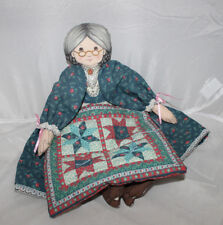 Vintage Grandmother Cloth Doll Attached Quilt By Mrs Santa Jointed Arms 1996