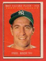 1961 Topps #471 Phil Rizzuto GOOD+ CREASE PAPER LOSS New York Yankees FREE SHIP