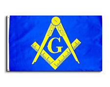 Masonic 3x5 Polyester Flag - With Blue Background and Yellow Freemasons Symbol