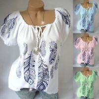 Plus Size Women Boho Floral Short Sleeve Blouse Baggy Tops Ladies V Neck T Shirt