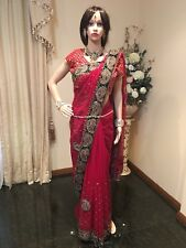 A94 Indian Designer Saree Bollywood Party Net Sari Maroon Red Green Gold
