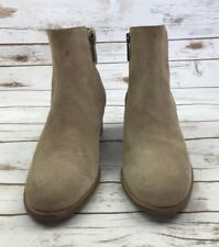 Womens Aquatalia Boots Weatherproof Tan Perforated Zip Ankle Booties 8.5 M $395