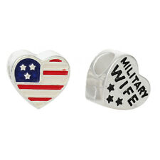 Military Wife American Flag Heart Red Blue Spacer Charm for European Bracelets