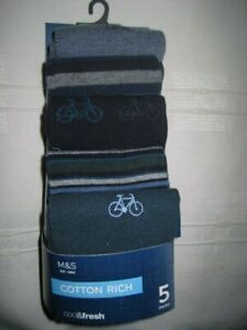 Bicycle pattern M&S MARKS AND SPENCER Men's Cotton Rich socks 5 PAIRS Bike