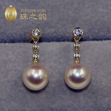 Stunning AAA+ 8.5-9mm real natural Japanese Akoya white round pearl earrings 18k