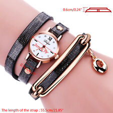 New Women Ladies Wrap Bracelet Crystal Leather Dress Analog Quartz Wrist Watch