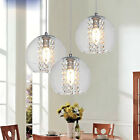 Modern Glass Ball Crystal LED Ceiling Light Pendant Lamp Kitchen Bar Chandelier