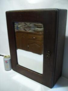 Antique Primitive Solid Oak OLD MEDICINE APOTHECARY CABINET w/BEVEL EDGE MIRROR