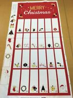 Red and White Fold-Pocket Advent Calendar Panel 100% Cotton