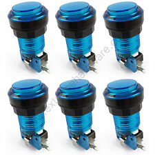 6 x 28mm Round 5v LED T10 Bulb Arcade Buttons & Microswitches (Blue) - MAME